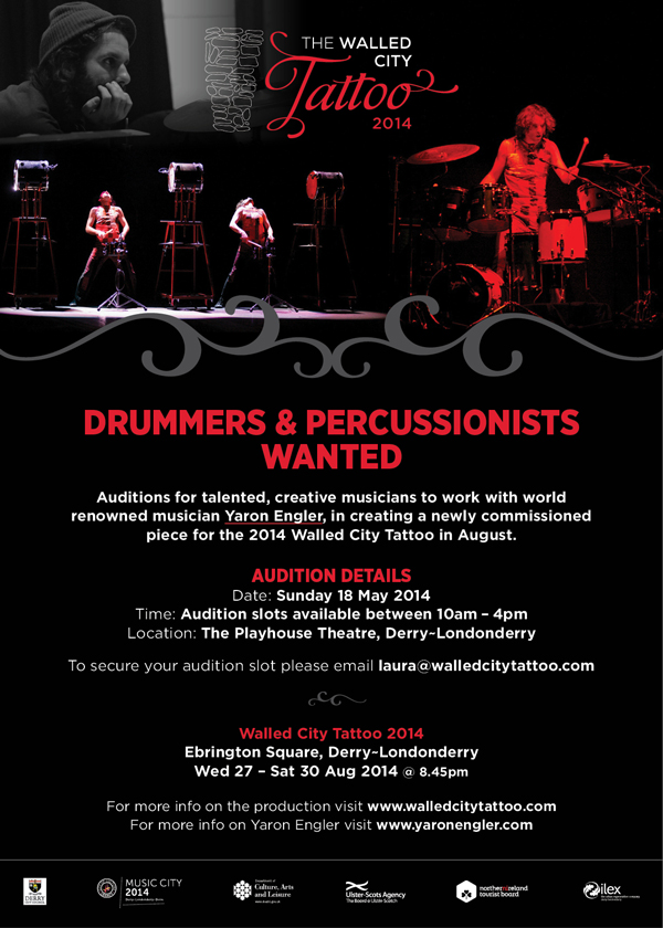 Walled City Tattoo 2-14 drummer audition